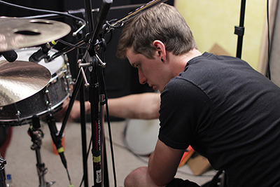 Alex working on the kit